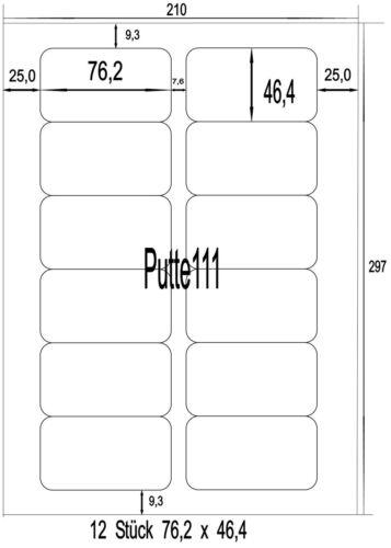 96 Klebe Etiketten Aufkleber  76,2 mm x 46,4 mm 8 Bogen Vorlage