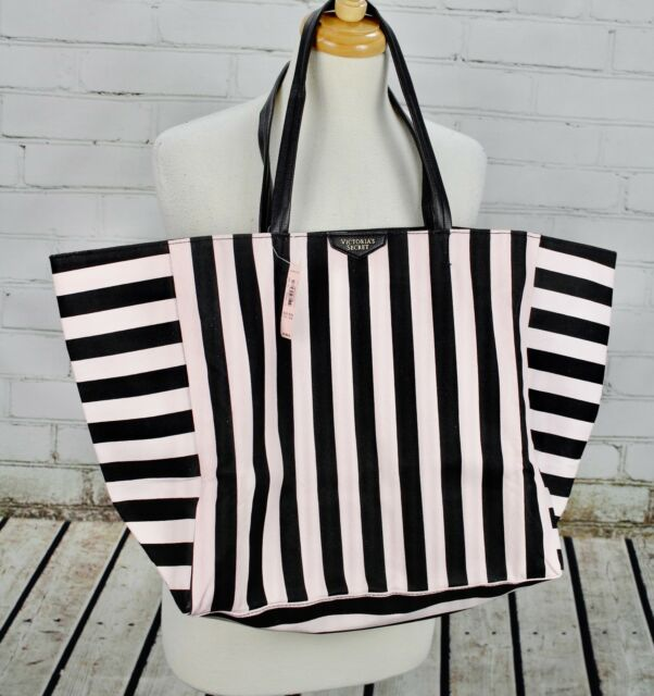 NEW! 2016 Victoria's Secret Tote Weekender Bag + Makeup Pouch Pink Black Stripe