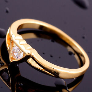 14K Gold Filled Heart White Topaz Gemstone Ring Size 7 -Wife Girlfriend Daughter