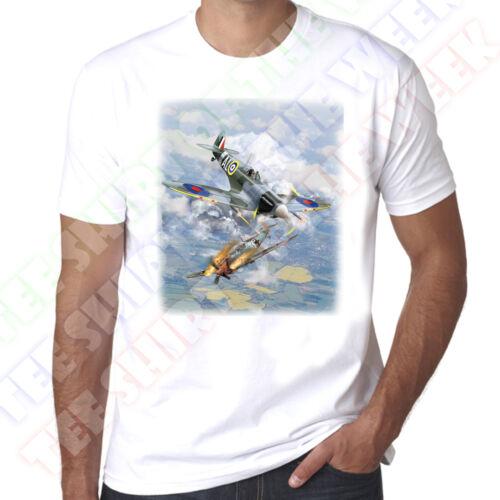 Spitfire Messerschmitt Dog Fight WW2 Battle of Britain Mens 100/% cotton T-shirt