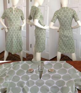 e460d356 Vtg CISA 60s Shift Dress Wool Knit Italy Mod Retro Sage Green Polka ...