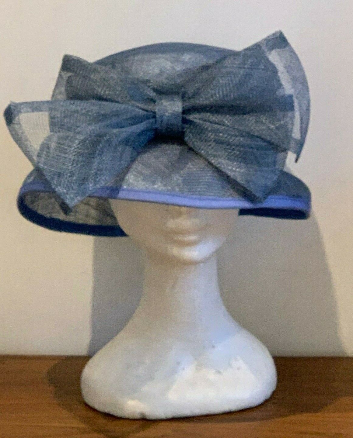 Gina Blue Woven Hat Bow Wedding Formal Races Hat Beautiful