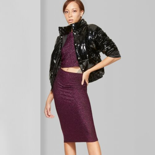 NWT Wild Fable™ Women/'s Shiny Knit Stretch Bodycon Midi Skirt With Back Slit