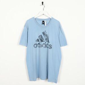 Vintage-ADIDAS-Big-Logo-T-Shirt-Tee-Light-Blue-XL