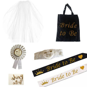 WHITE WITH GOLD BRIDE TO BE ROSETTE /& GARTER HEN NIGHT PARTY DO ACCESSORY