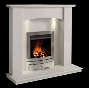 White Marble Surround Modern Curved Silver Gas Fire Fireplace Suite