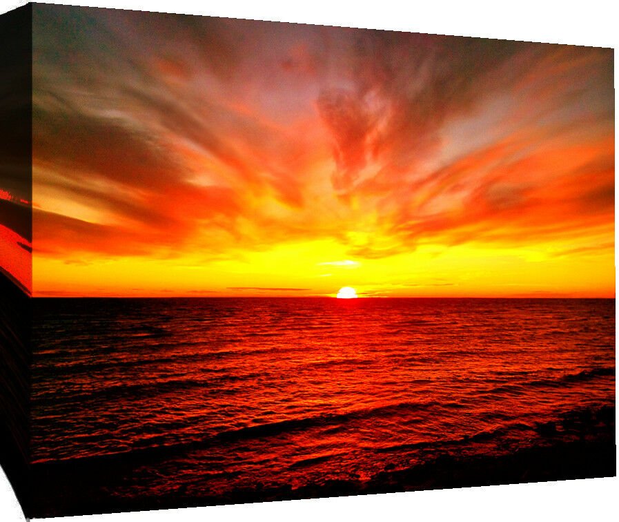 Baltic Sea Sunset Quote Canvas Wall Art Picture -100% cotton- A1, A2, A0 + Größes