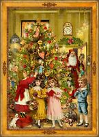 Richard Sellmer Verlag - Traditional German Paper Advent Calendar Santa At Tree