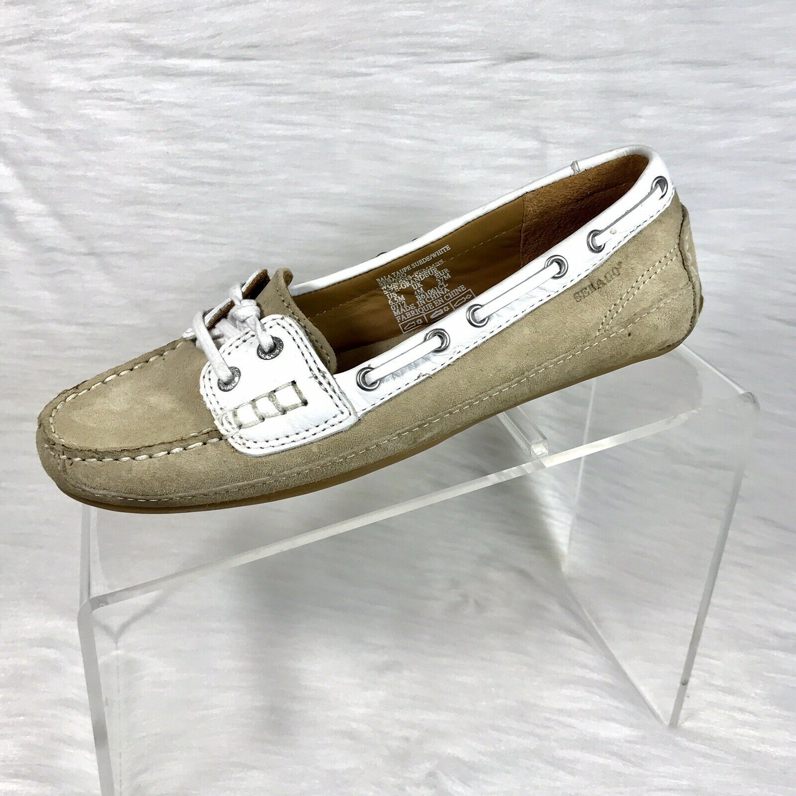 Sebago Womens Boat shoes Size 6.5 M Beige  White Suede