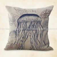 Us Seller, Jellyfish Ocean Beach Nautical Cushion Cover Cheap Pillows For Couch
