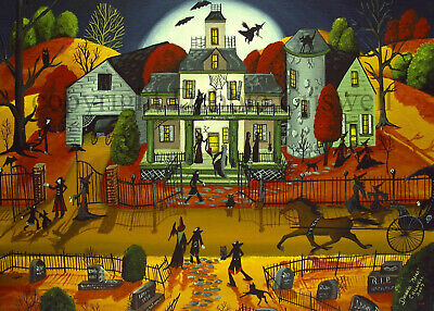 ACEO Halloween folk art print CATS AND BATS black orange JOL vintage style DC