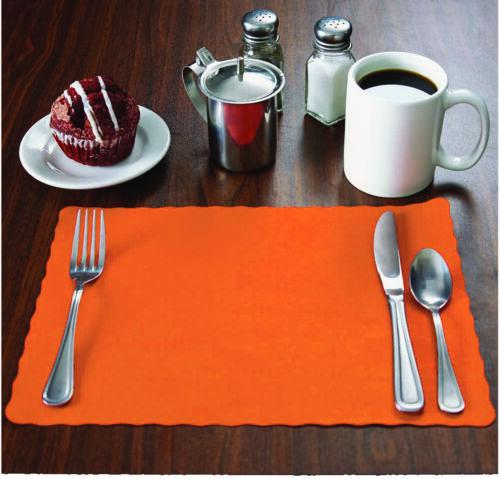 """10/""""x14/"""" place mats,Disposable 1000 Raise® Orange Paper Placemats,Scalloped Edge"""