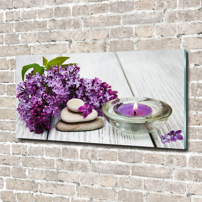 Acrylglas-Bild Wandbilder Druck 140x70 Deko Blaumen & Pflanzen Flieder Zen Steine