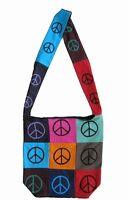 Handmade Cotton Bohemian Sling Hippie Peace Sign Tote Bag Shopping Work Bag