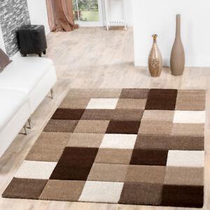 Teppich Wohnzimmer Modern Karo Muster Mit Konturenschnitt Braun ...