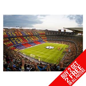 BARCELONA-CAMP-NOU-Stadium-Poster-Arte-Impreso-A4-A3-Tamano-Buy-2-GET-ANY