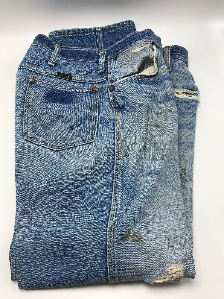 Vtg 1980s Wrangler 912 bluee Jeans Distressed Trashed Holes Ideal Zipper Sz 38x30