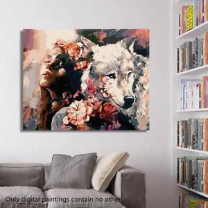 Auf Leinwand Wolf Und Madchen Malen Acryl Kunst Wohnku Olgemalde