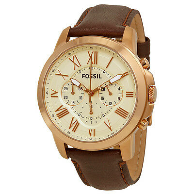 Fossil Grant Chronograph Brown Leather Mens Watch FS4991