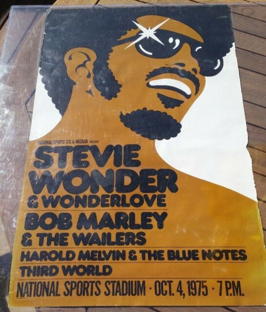 STEVIE WONDER 1975 JAMAICA CONCERT POSTER BOB MARLEY THIRD WORLD ORIGIONAL