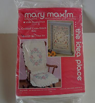 Rose Cross Stitch Chair Cushions Kit Pink White Mary Maxim New Sealed 57129 Vtg
