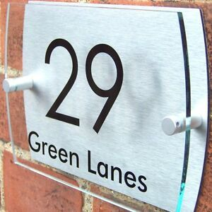 HOUSE-DOOR-NUMBER-PLAQUE-PLATE-WALL-SIGN-NAME-GLASS-EFFECT-ACRYLIC-ALUMINIUM