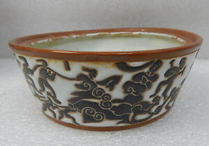 Antique-Chinese-Stoneware-Pottery-Bowl-Dish-Abstract-People-Design