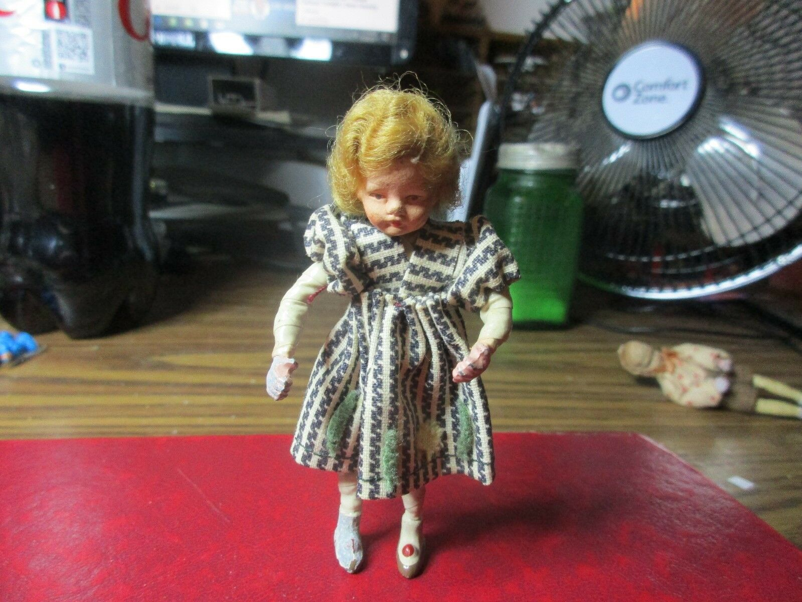 German Dollhouse 3-3 4in Little Girl Doll - Head, Hands, & Feet Are Celluloid
