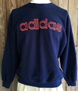 Details about Adidas Men's XL Crewneck Sweater Vintage 90's Blue Spell Out Polyester