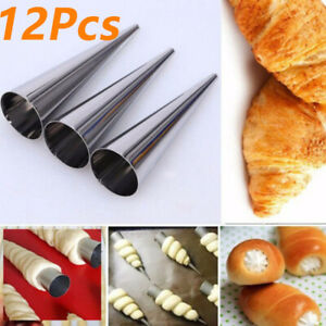 Spiral Horn Roll Baking Mold Cream Croissant Stainless Steel Pastry Bread Cone