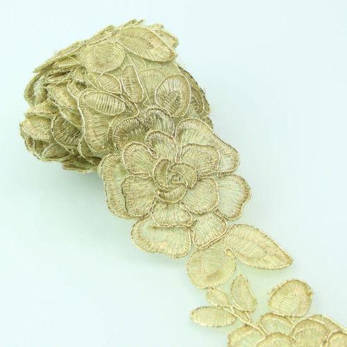 2 Yards Vintage Flower Lace Trim Applique Wedding Bridal Dress Sewing Craft DIY