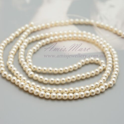 *190pcs Beads 4mm Cream Color Sewing ABS Imitation Plastic Round Loose Pearl *