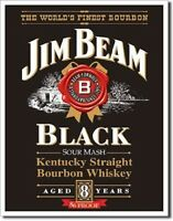 Jim Beam Kentucky Straight Bourbon Whiskey Black Label Advertising Tin Sign