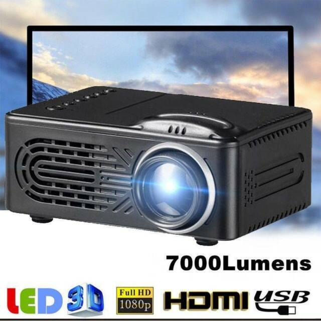 7000Lumen 3D Full HD 1080P Mini Projektor LED Beamer Multimedia Heimkino AV USB