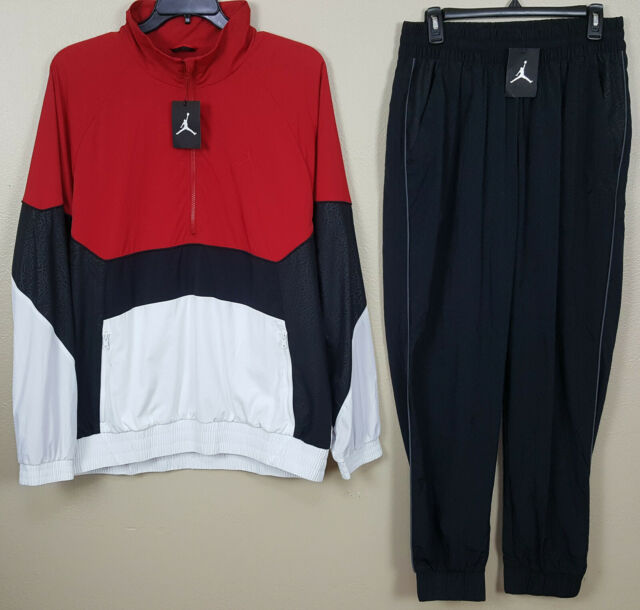 NIKE AIR JORDAN RETRO 3 TRACK SUIT JACKET +PANTS RED WHITE BLACK (SIZE XL LARGE)