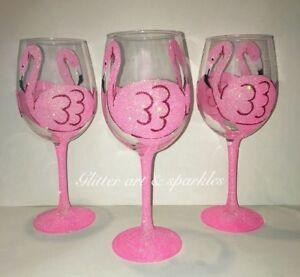 Fabulous Flamingo Large Glitter Wine Glass