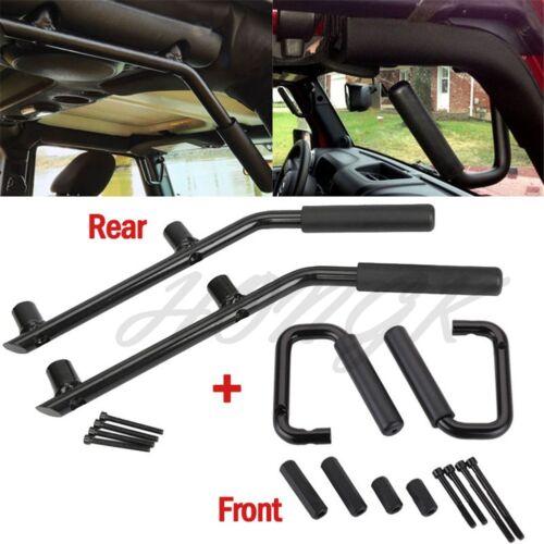 Fit 07-17 Jeep Wrangler JK 2//4D Front//Rear Solid Steel Side Door Grab Handle Bar