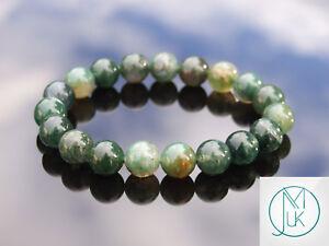 Moss-Agate-10mm-Natural-Gemstone-Bracelet-6-9-039-039-Elasticated-Healing-Stone-Chakra