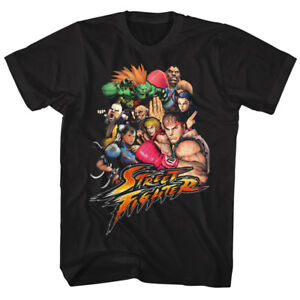 Street-Fighter-Character-Collage-Adult-Black-T-shirt