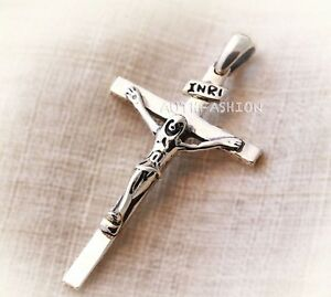 P313s mens sterling silver 925 cross pendant jesus crucifix for image is loading p313s mens sterling silver 925 cross pendant jesus aloadofball Image collections