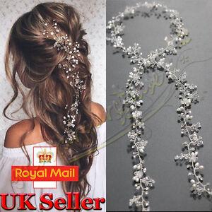 Image Is Loading Vintage Bridal Crystal Pearl Vine Hairbands Headpiece Wedding