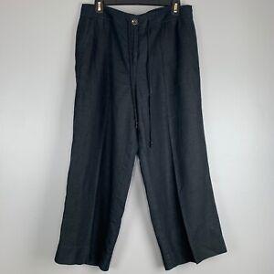 Talbots Womens Size 10 Pure Irish Linen Cropped Black Pants