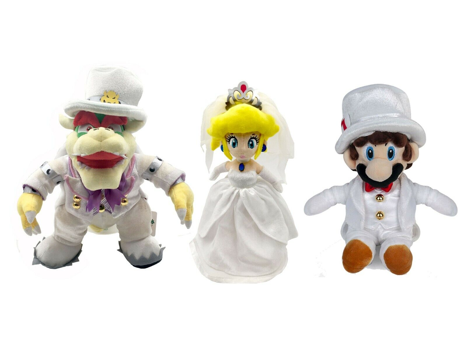 3X Super Mario Odyssey King Bowser Princess Peach Mario Wedding Dress Plush Toy