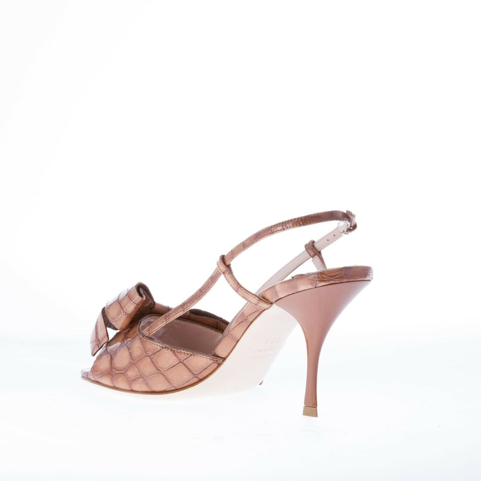 MIU MIU women shoes Brown croco embossed patent leather sandal sandal sandal with adorning bow 3394a9