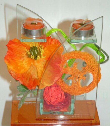 EDEL Glasdeko im Blumendesign dekoriert mit Teelichtern 16x12 cm Preishit x 5071