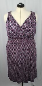 Lane-Bryant-Women-039-s-V-Neck-Sleeveless-Dress-Multicolor-Geometric-Size-14-16