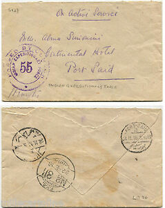 EGYPT PORT-SAID, 1916, INDIAN ARMY FIELD SERVICE FPO 311 + CENSOR 55 m