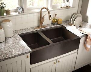 Details about Hammered Copper Apron Farmhouse Kitchen Sink 33\