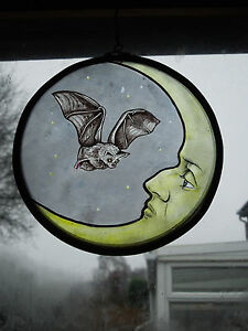 034The Bat and the Moon034 Stained Glass Vintage Victorian Style Suncatcher - <span itemprop='availableAtOrFrom'>Stoke-on-Trent, United Kingdom</span> - 034The Bat and the Moon034 Stained Glass Vintage Victorian Style Suncatcher - Stoke-on-Trent, United Kingdom