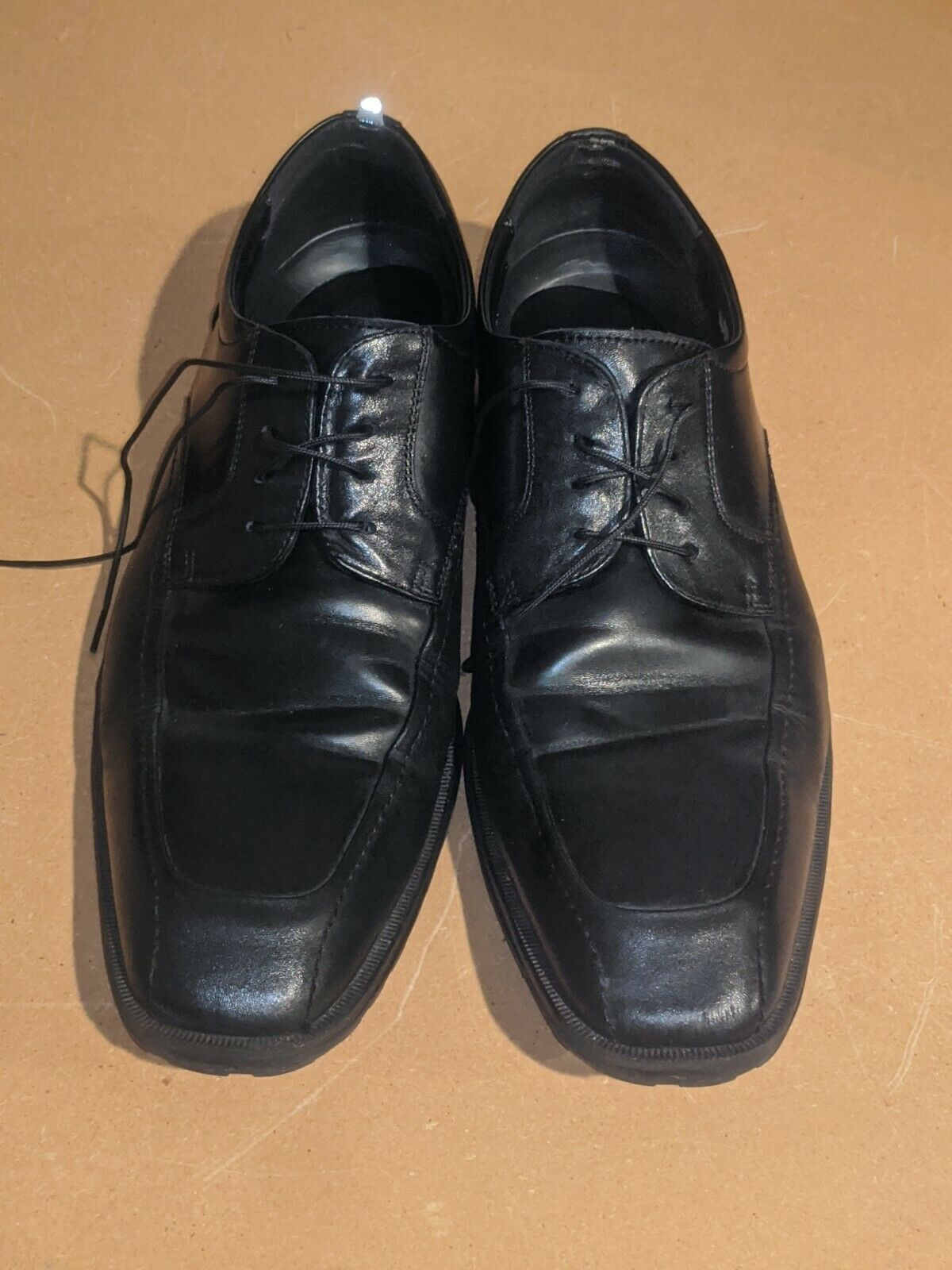 Kenneth Cole Reaction Black Leather Oxford Dress Shoes Mens 12 M